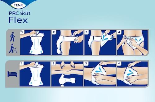 Najbolji način za primjenu TENA ProSkin Flex upijajućih gaćica za inkontinenciju s pojasom tijekom stajanja ili ležanja